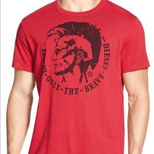 DIESEL Black V-Neck Only The Brave Logo T-Shirt Top Tee Size L BNWOT